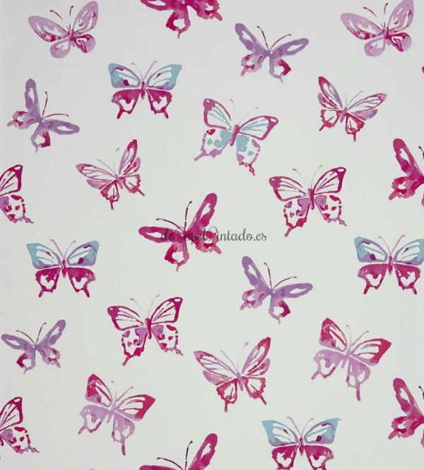 Papel pintado color rosa mariposas depapelpintado for Fotos papel pintado